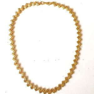 AVON Zigzag Gold Necklace Vintage